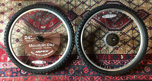 """NEW 24"""" Huffy Mountain Bike Wheels Tires Front And Rear 50-507   24x1.95"""