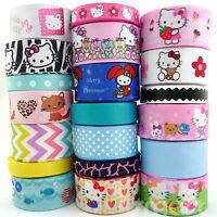 "20Yards Assorted Grosgrain Ribbon Lots 20 Styles 3/8""--1.5"" Cartoon Kitty Craft"