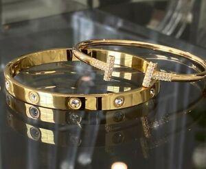 Premium High Quality Stainless Steel Love & T Bracelet Set