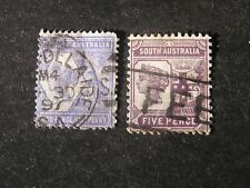 South Australia, Scott # 102/103(2), 21/2p+5p Values Complete 1894 Qv Issue Used