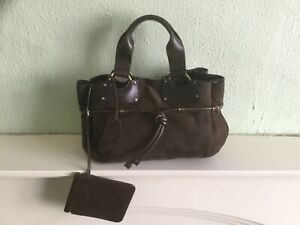 Authentic Vintage Gucci Brown suede Leather Handbag Tote with attached pouch