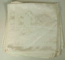 "6 Large Size Vintage White Linen Damask Napkins 19"" Square"