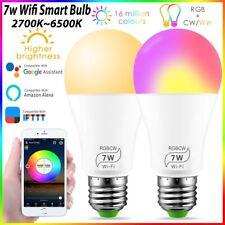 WIFI RGB Smart LED Bulbs E27 LED Lights App Control For iOS Android Alexa Google