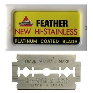 GENUINE FEATHER NEW HI-STAINLESS BLADES - PACKET OF 10  BLADES SUIT SAFETY RAZOR