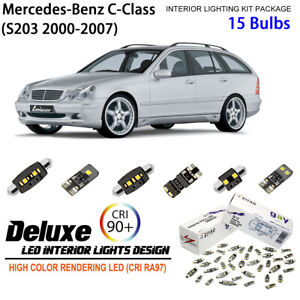 15 Bulbs LED Interior Light Kit HID White For 2001-2007 S203 Benz C Class Wagon