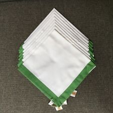 Talbots Set of 8 White Green Trim Napkins 100% Cotton Nautical? Plain Preppy