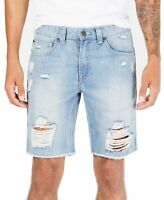 INC NEW Blue Mens Size 32 Light Wash Regular Fit Distressed Denim Shorts $59 497