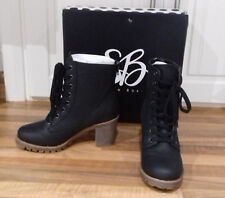 size 4 (37) brand new black faux leather ankle boots with back heel zip closure