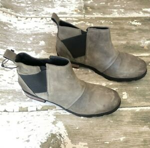 SOREL Womens EMELIE CHELSEA Quarry Gray black Waterproof Boots Booties US 11 42