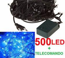 500 LED Natalizi.Luce blu elettrico,filo verde.Albero Natale,presepe,luci.