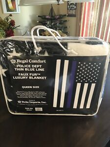 Police Blue Line Queen Blanket