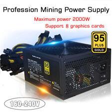 Gold Mining Power Supply 2000W ATX SATA IDE 4+4Pin 8 GPU for ETH BTC Ethereum US