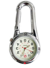 Silver Clip on Carabiner FOB Watch Silver Face for Doctors Nurses Paramedics