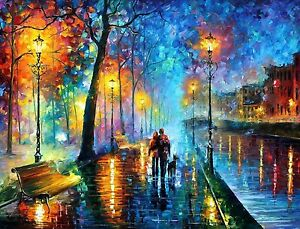 Couple Love - City River Painting Colourful Modern Art Canvas Picture 20x30Inch