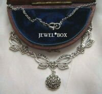 EARLIER VINTAGE LOVELY REAL MARCASITE BOW LAVALIERE PENDANT DROPPER NECKLACE