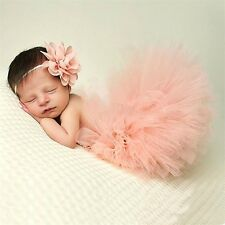 NEW Cute Newborn Baby Girl Tutu Skirt & Headband Photo Prop Costume Outfit UY