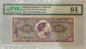 Military Payment Certificate Series 651 $10 FIRST PRINTING New 64 Choice Unc