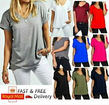 Women Baggy Oversized Loose Fit Turn up Short Sleeve Ladies V Neck Top T shirt