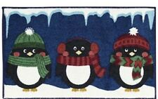 "Nourison Holiday Three Penguins Navy Blue 18"" x 30"" Rug New Christmas Winter"