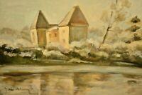 Original Frisian European Modern Impressionist House Lake Landscape Oil Painting