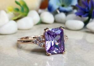 3Ct Emerald Cut Amethyst Solitaire Women's Engagement Ring 14K Rose Gold Finish