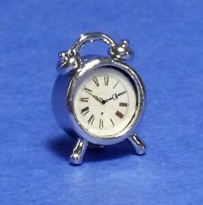 Miniature Dollhouse Antique Silver Alarm Clock 1:12 Scale New