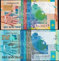 Kazakhstan set 2 PCS 200 and 500 Tenge 2006 Banknote PICK 28-29 NEW UNC
