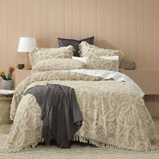 Bianca Sheba 100% Cotton Chenille Bedspread Set Taupe Queen Size