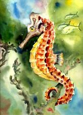 Seahorse Fish 8X10 Watercolor picture Best Beach Decor art print by Barry Singer