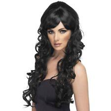 Women's Pop Starlet Lunghi Ricci Nero Costume Parrucca Glamour Cher Hen Night Divertente