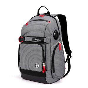 Swiss Digital Xavie Grey Heather Fabric Bluetooth Speaker Backpack TSG4H152
