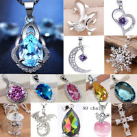 Fashion 925 Sterling Silver Filled Sapphire Rubby Pendant Necklace Earrings Gift