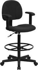 Black Patterned Fabric Ergonomic Drafting Chair With Height Adjustable Arms or