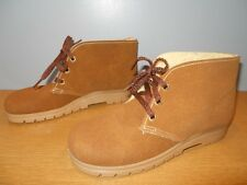 Nos Vintage 70s Khaki Brown Lined Mod Ankle Boots Desert Chukka Work Booties 7.5