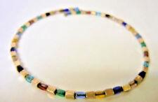 Vtg Egyptian Revival Colorful Gemstone Gem Stone Sterling Silver Choker Necklace