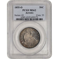 1855-O US Seated Liberty Silver Half Dollar 50C - Arrows - PCGS MS62