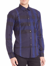 NWT Burberry London 'Southbrook' Black And Blue Check Sport Shirt (L) MSRP $350