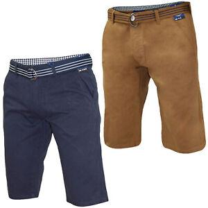 Kushiro City Mens Chino Shorts Three Quarter Slim Fit Cotton Zip Fly Beach Short