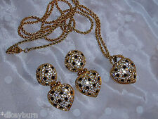 Exquiste JOAN RIVERS Onyx, Clear Pave Crystal Heart LOCKET Necklace Earrings