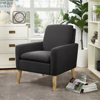 Modern Accent Linen Fabric Armchair Wood Single Sofa Chair Upholstered Arm Chair