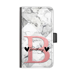Personalised Initial PU Leather Phone Case Black Hearts Grey Marble Flip Cover