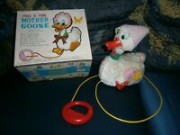 Rarest Tin Toy In The World - Pull-A-Tune Mother Goose Japan Tomy Boxed Working!