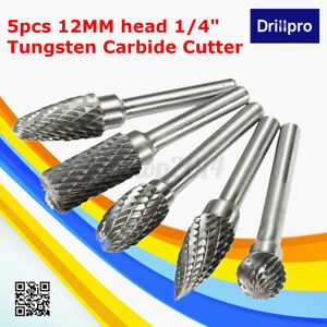 5x 12MM Head Tungsten Carbide Rotary Point Burr Die Grinder 6mm Shank Cutter