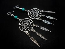 A PAIR LONG DREAMCATCHER TURQUOISE EARRINGS WITH 925 SOLID SILVER HOOKS. NEW..