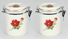 Set 2 NEW White red porcelain tea bag biscuit caddie canister jar container