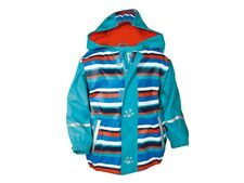 Lupilu Rain Jacket Age 12-24 Months  Waterproof Anorak Stripes Blue Red Hood