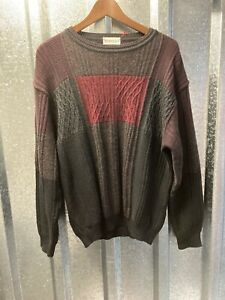 Monello Mens Block Colours Round Neck Wool Blend Vintage 80s Italian Jumper