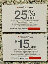 2 Macy's Star Pass Coupons 25% Off & $15 Off of $50 Exp 1/1/21 FAST e-Delivery