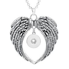 DIY 1pcs Angel Wings Alloy Pendant With Necklace Fit Snap Chunk Button Charm