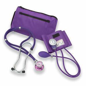 Professional Dual Head Sprague Stethoscope w Manual Blood Pressure Cuff PURPLE